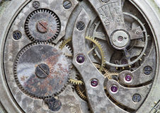 Macro view of a pocket watch machinery Stock Photos