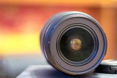 Macro view of professional photograph camera lens, isolated on w royalty free stock photography