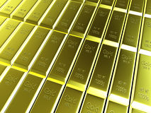 Macro view of rows of gold bars Royalty Free Stock Photography