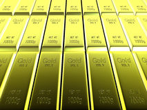 Macro view of rows of gold bars Royalty Free Stock Image