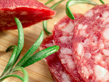 Macro view of the sausage with rosemary Royalty Free Stock Image