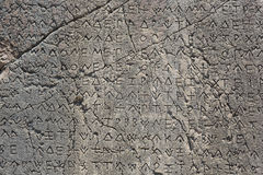 Macro view of script on Inscribed Pillar in Xanthos Ancient City. Antalya, Turkey Stock Images