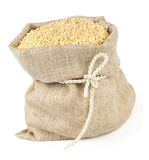 Sack with tie of sesame seeds Stock Photos