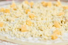 Macro view sprinkled cheese on pizza crust. stock image