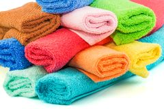 Stack of colorful towels. Macro view of stack of colorful towels Royalty Free Stock Photo
