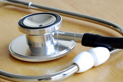 Macro view of the stethoscope on a table Stock Image