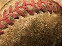 Red Stitching Detail of an Old Baseball Royalty Free Stock Photography
