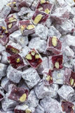 Macro view of Turkish delight background.  Royalty Free Stock Photo