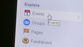 Macro view of a user selecting and deciding on Event, Groups, Pages and more on the Facebook sidebar