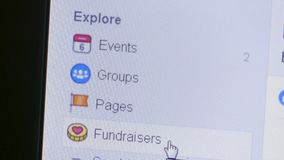 Macro view of a user selecting and deciding on Event, Groups, Pages and more on the Facebook sidebar. Facebook is one of the largest social media platforms stock video