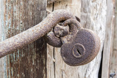 Macro view of very old rusty padlock.  Royalty Free Stock Image