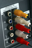 Macro view of the video line-in panel Stock Photo