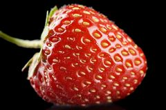 Macro view of whole strawberry isolated on black Stock Image