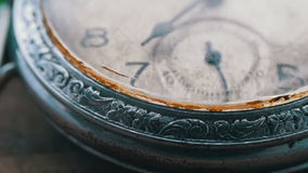 Macro vintage pocket watch closeup. Antique clock dial close-up. Vintage pocket watch,A macro closeup of an vintage clock.Old vintage clock mechanism watch time stock video