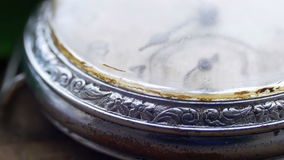 Macro vintage pocket watch closeup. Antique clock dial close-up. Vintage pocket watch,A macro closeup of an vintage clock.Old vintage clock mechanism watch time stock footage