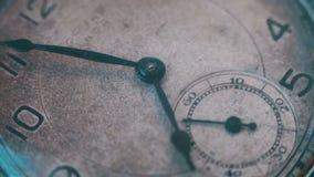 Macro vintage pocket watch closeup. Closeup shot with soft focus,A macro closeup of an vintage clock.Antique clock dial close-up. Vintage pocket watch.Old stock footage
