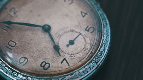 Macro vintage pocket watch time going fast. A macro closeup of an vintage clock.Antique clock dial close-up. Vintage pocket watch.Old vintage clock mechanism stock footage