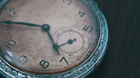 Macro vintage pocket watch time going fast. A macro closeup of an vintage clock.Antique clock dial close-up. Vintage pocket watch.Old vintage clock mechanism stock video footage