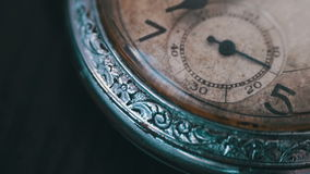 Macro vintage pocket watch time going fast. Closeup shot with soft focus,A macro closeup of an vintage clock.Antique clock dial close-up. Vintage pocket watch stock footage