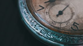 Macro vintage pocket watch time going fast. Closeup shot with soft focus,A macro closeup of an vintage clock.Antique clock dial close-up. Vintage pocket watch stock video
