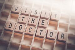 Macro Of A Visit The Doctor Reminder Formed By Wooden Blocks In A Type Case. A Macro Of A Visit The Doctor Reminder Formed By Wooden Blocks In A Type Case stock images