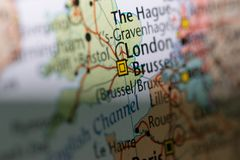 Macro vue de carte de Londres Images libres de droits