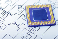 Macro vue des broches de CPU Photographie stock