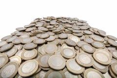 Macro vue des pièces de monnaie turques Photos stock