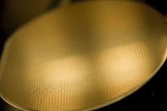Macro of Wafer. Tray in a cleanroom, semiconductor stock photo