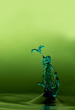 Macro water splash. With gradient green background and copy space Stock Images