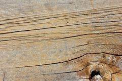 Macro weathered wood grain knot hole plank texture Royalty Free Stock Photo