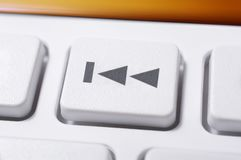 Macro Of A White Skip Backward Button Of A White Remote Control For A Hifi Stereo Audio System Stock Images