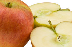Macro of whole apple with 2 halves. Showing stalk Stock Photography