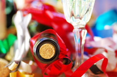 Macro of wine bottle with cork on colorfoul Royalty Free Stock Photography