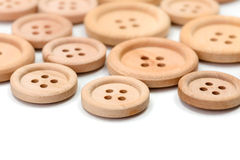 Macro of wooden buttons Royalty Free Stock Images