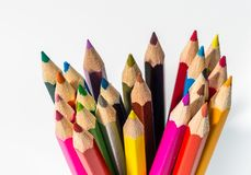 Pencils up close with colour and sharpened points royalty free stock photos