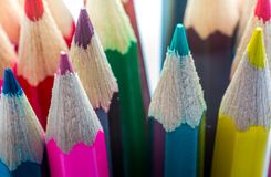 Pencils up close with colour and sharpened points stock photos