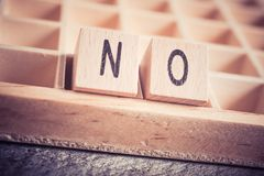 Macro Of The Word No Formed By Wooden Blocks In A Type Case. A Macro Of The Word No Formed By Wooden Blocks In A Type Case stock photo