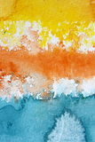 Macro Yellow Orange Blue and White Watercolour Background 3 Royalty Free Stock Image