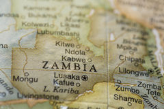 Macro of Zambia on a globe Stock Image
