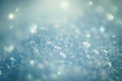 Macroachtergrond van verse sneeuwvloktextuur Royalty-vrije Stock Afbeelding