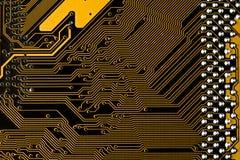 Macrobeeld van gele gedrukte kringsraad - PCB-textuur Royalty-vrije Stock Fotografie