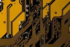 Macrobeeld van gele gedrukte kringsraad - PCB-textuur Royalty-vrije Stock Foto's