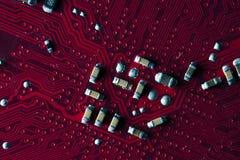 Macrobeeld van rode gedrukte kringsraad - PCB Royalty-vrije Stock Foto