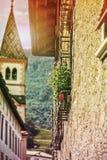 Macrobeeld van steenkerk Stock Foto