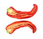 Macroclose-up van kruidige rode die Spaanse peperpeper in de helft wordt gesneden Royalty-vrije Stock Foto's