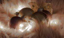 Macrodetail van verscheidene Kerstmisballen royalty-vrije stock foto