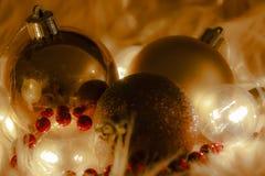 Macrodetail van verscheidene Kerstmisballen stock foto's