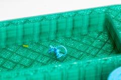 Macrofoto van een 3D druk met zichtbare lagen voor de kwaliteitstest Stock Fotografie