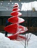 Macrofoto van een Kerstboom in de winter in Moskou stock foto